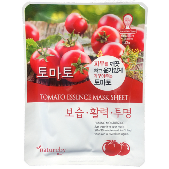 Natureby Tomato Essence sheet mask supports the removal of excess oil and refines pores, resulting in tighten skin. Tomato aids in the restoration and balance of skin elasticity, warding off harmful melanin and treatment of sunburns. Naturally rich in antioxidants it improves irritation of blemish prone skin.