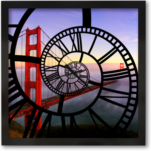 """Golden Gate"" - Square Window Spiral Clock"