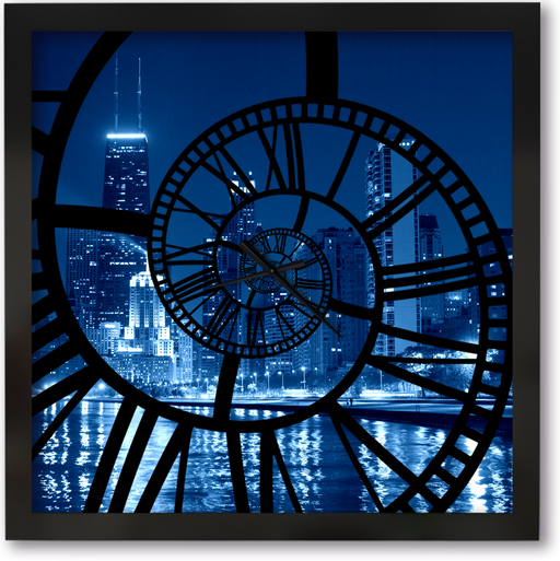 """Chicago Night"" - Square Window Spiral Clock"