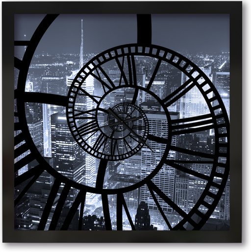 """NYC Night"" - Square Window Spiral Clock"