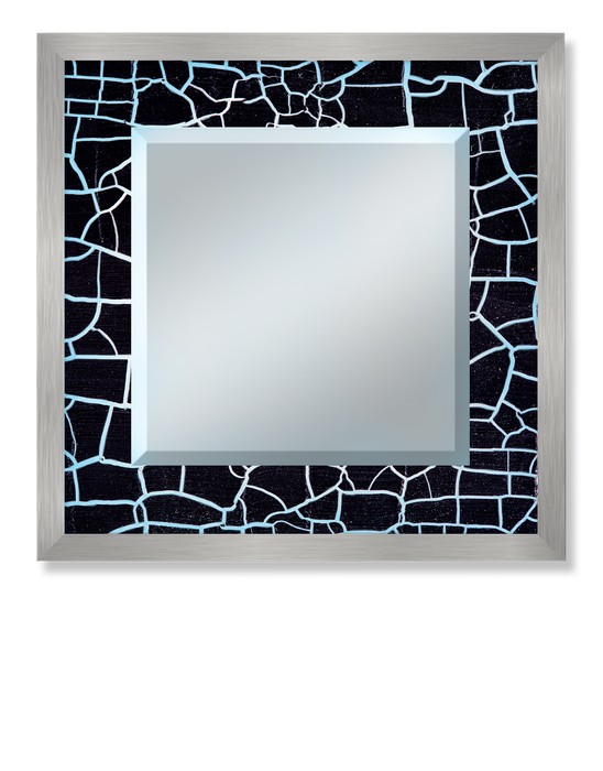 """Black Crackle"" Lighted Square Mirror"