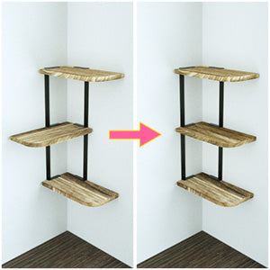 Love-KANKEI Corner Shelf Wall Mount of 3 Tier Carbonized Black
