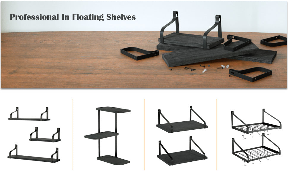 Love-KANKEI Floating Shelves Wall Mounted Set of 3 Weathered Black