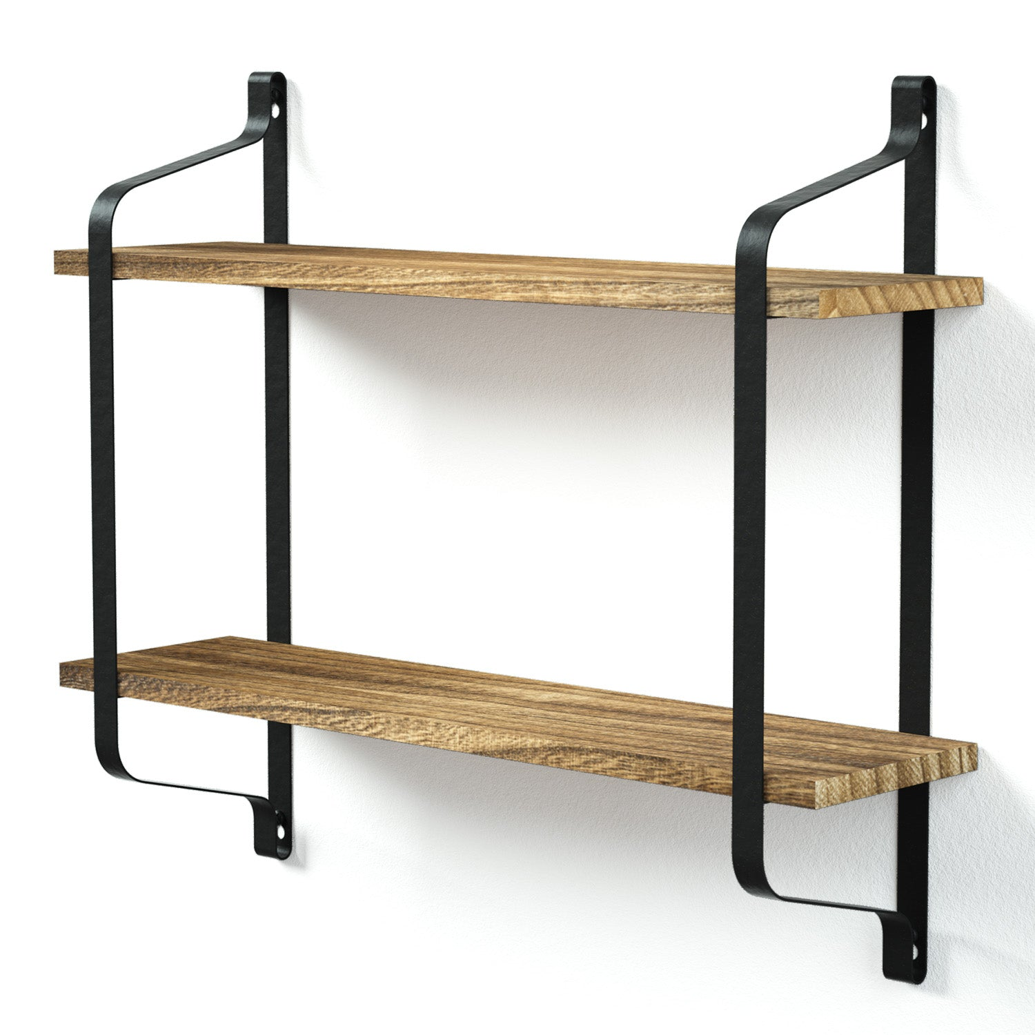 Love-KANKEI Industrial Wood Wall Shelves for Pantry Carbonized Black