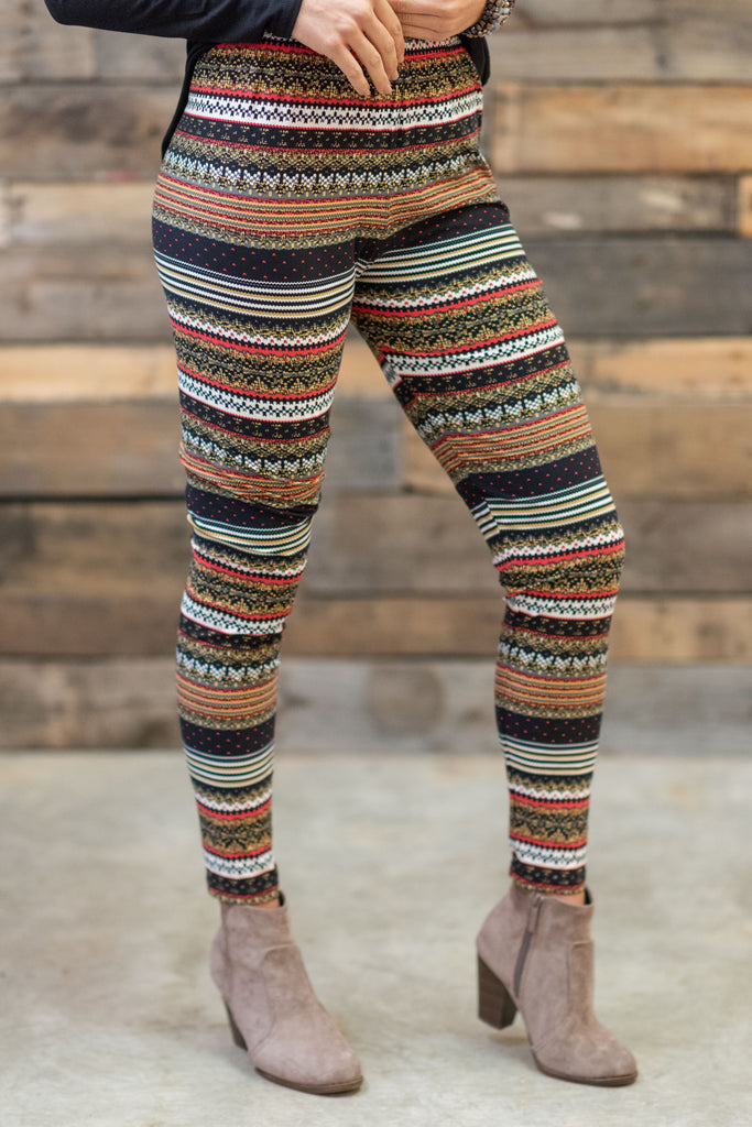 Winter Pop Leggings, Mustard-Black