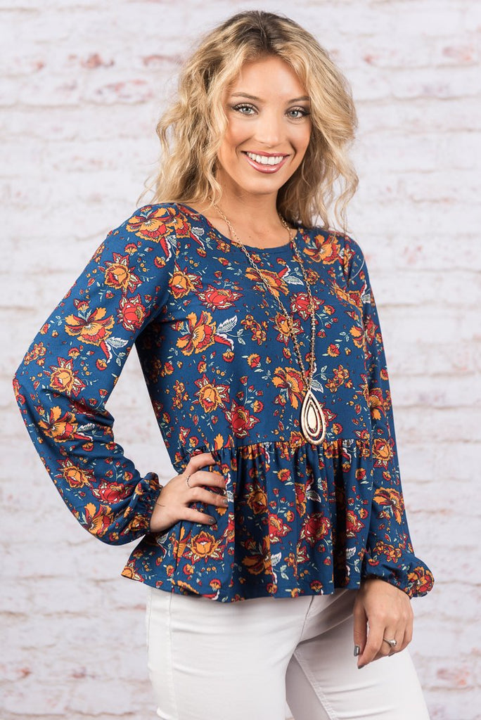 Playful And Pretty Top, Navy
