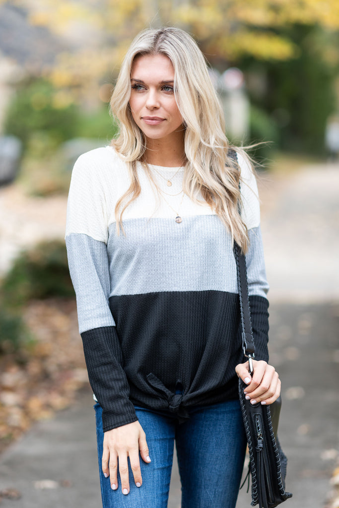 top, casual, long sleeve, color block, white, gray, black, winter