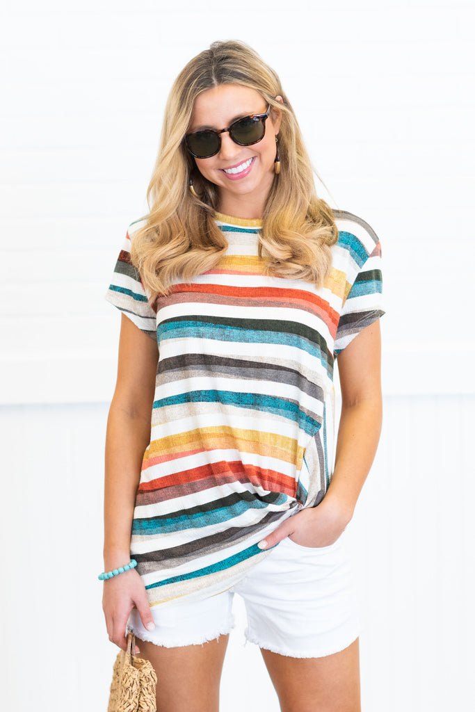 A Day For Fun Top, Ivory-Multi