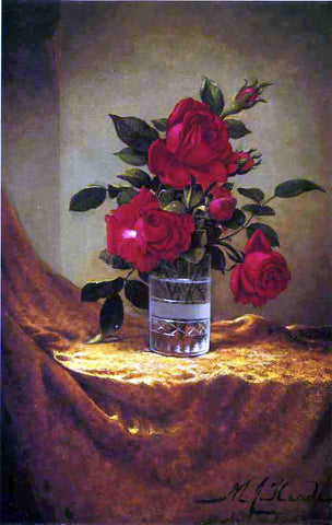 Martin Johnson Heade A Glass of Roses on Gold Cloth - Hand Painted Oil Painting
