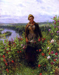 Daniel Ridgway Knight A Maid in Her Garden - Hand Painted Oil Painting