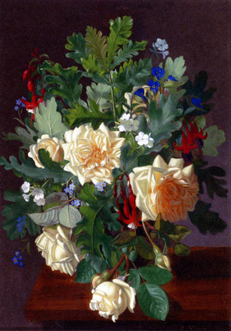 Otto Didrik Ottesen A Still Life With Yellow Roses And Freesia - Hand Painted Oil Painting