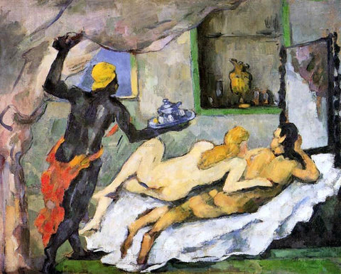 Paul Cezanne Afternoon in Naples with a Black Servant - Hand Painted Oil Painting