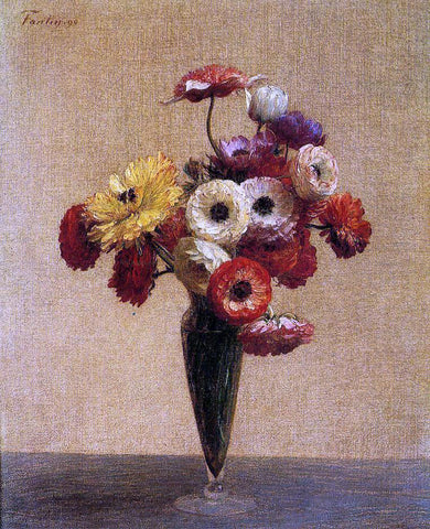 Henri Fantin-Latour Anemones and Buttercups - Hand Painted Oil Painting