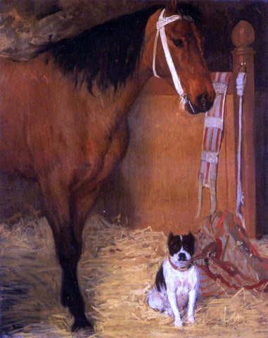 Edgar Degas At the Stables, Horse and Dog - Hand Painted Oil Painting