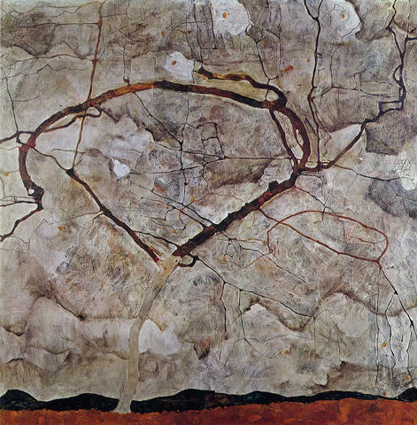 Egon Schiele Autumn Tree in Movement - Hand Painted Oil Painting