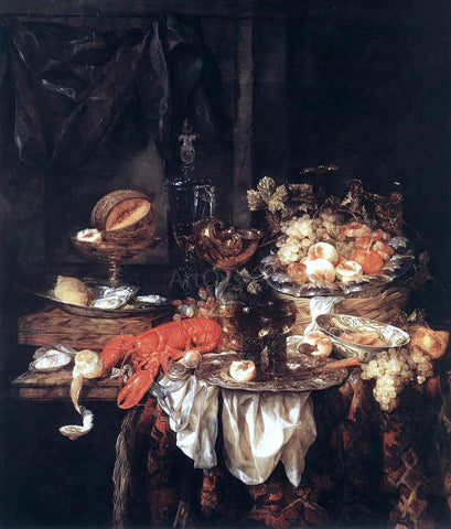 Abraham Van Beyeren Banquet Still-Life with a Mouse - Hand Painted Oil Painting