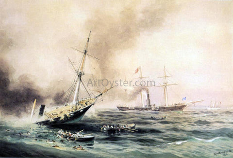 "Xanthus Russell Smith Battle of ""Kearsarge"" & ""Alabama"" 1892 - Hand Painted Oil Painting"