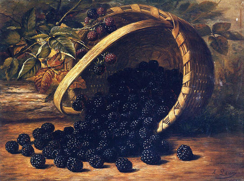 August Laux Blackberries in a Basket - Hand Painted Oil Painting