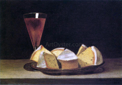 Rubens Peale Cake and Wine Glass - Hand Painted Oil Painting