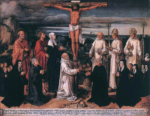 Anton Woensam Von Worms Christ on the Cross with Carthusian Saints - Hand Painted Oil Painting