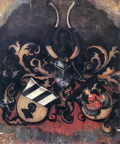 Albrecht Durer Combined Coat-of-Arms of the Tucher and Rieter Families - Hand Painted Oil Painting