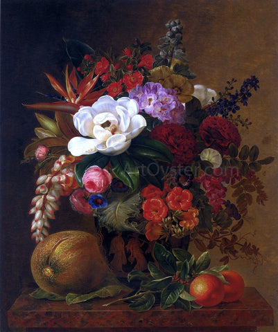 Johan Laurentz Jensen Exotic Blooms in a Grecian Urn with Fruit on a Marble Ledge - Hand Painted Oil Painting