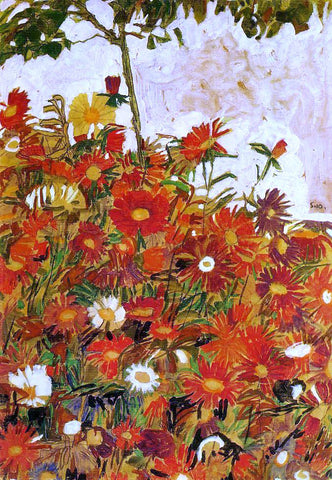 Egon Schiele Field of Flowers - Hand Painted Oil Painting