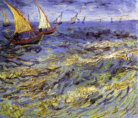 Vincent Van Gogh Fishing Boats at Sea (also known as Seascape at Saintes-Maries) - Hand Painted Oil Painting