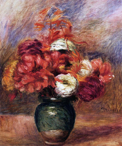 Pierre Auguste Renoir Flowers in a Green Vase - Dahlilas and Asters - Hand Painted Oil Painting