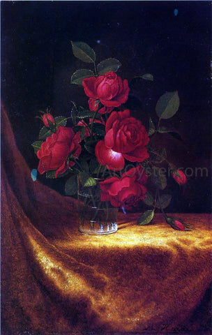 Martin Johnson Heade Four Roses in a Glass - Hand Painted Oil Painting