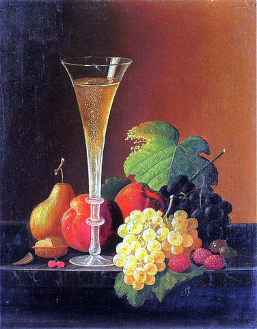 Severin Roesen Fruit and a Glass of Champagne on a Tabletop - Hand Painted Oil Painting