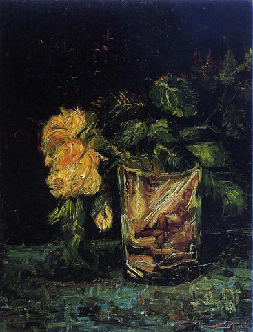 Vincent Van Gogh Glass with Roses - Hand Painted Oil Painting