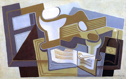 Juan Gris Guitar and Fruit Dish - Hand Painted Oil Painting
