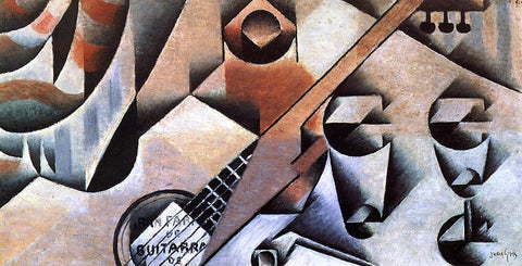 Juan Gris Guitar and Glasses (also known as Banjo and Glasses) - Hand Painted Oil Painting
