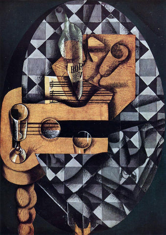 Juan Gris Guitar, Glasses and Bottle - Hand Painted Oil Painting