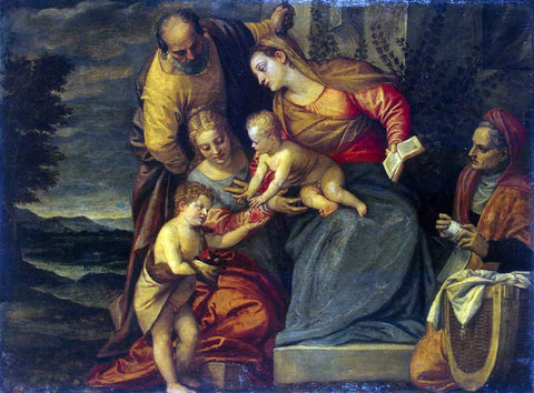 Benedetto Caliari Holy Family with Sts Catherine, Anne and John - Hand Painted Oil Painting