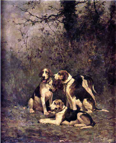 Charles Olivier De Penne Hounds at Rest - Hand Painted Oil Painting