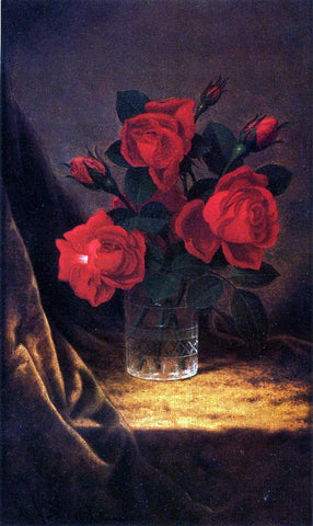 Martin Johnson Heade Jaqueminot Roses - Hand Painted Oil Painting