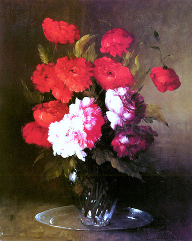 Germain Clement Ribot Pink Peonies and Poppies in a Glass Vase - Hand Painted Oil Painting