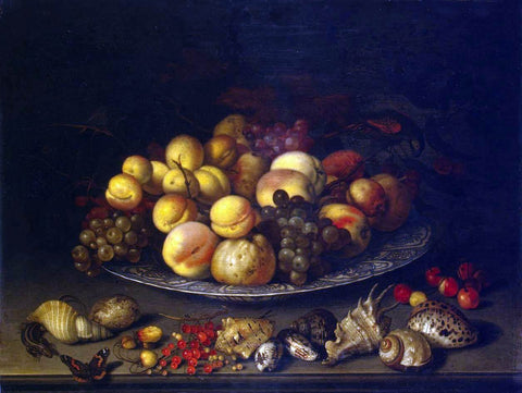 Balthasar Van der Ast Plate with Fruits and Shells - Hand Painted Oil Painting