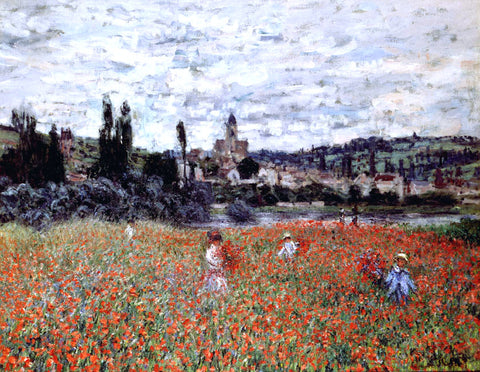 Claude Oscar Monet Poppies near Vetheuil - Hand Painted Oil Painting