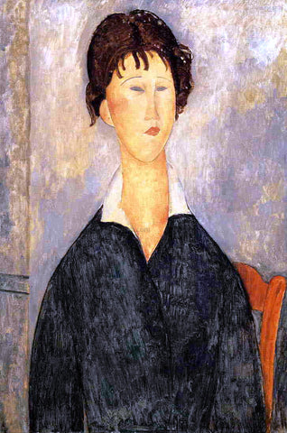 Amedeo Modigliani Portrait of a Woman with a White Collar - Hand Painted Oil Painting