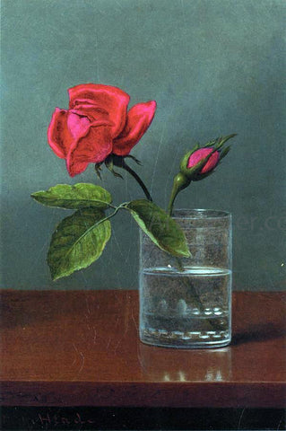 Martin Johnson Heade Red Rose and Bud in a Tumbler on a Shiny Table - Hand Painted Oil Painting