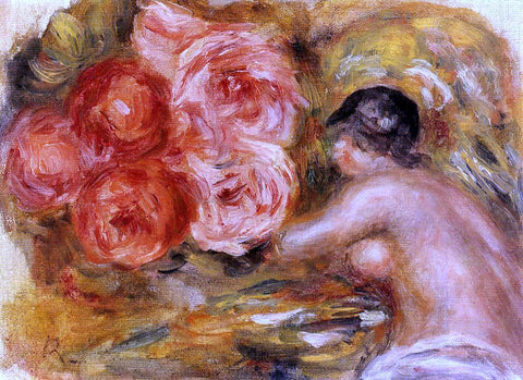 Pierre Auguste Renoir Roses and Study of Gabrielle - Hand Painted Oil Painting