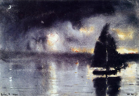 Winslow Homer Sailboat and Fourth of July Fireworks - Hand Painted Oil Painting