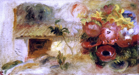 Pierre Auguste Renoir Small House, Buttercups and Diverse Flowers (study) - Hand Painted Oil Painting