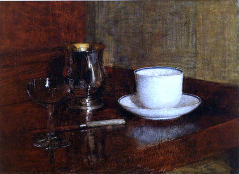 Henri Fantin-Latour Still Life: Glass, Silver Goblet and Cup of Champagne - Hand Painted Oil Painting