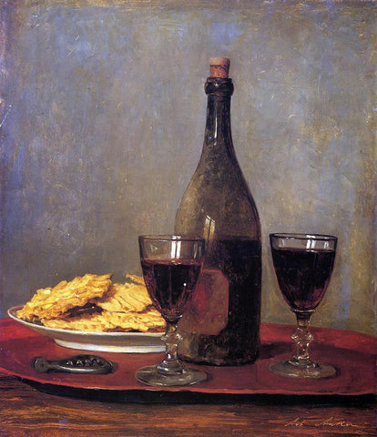 Albert Anker Still Life: Two Glass of Red Wine, a Bottle of Wine; a Corkscrew and a Plate of Biscuits on a Tray - Hand Painted Oil Painting