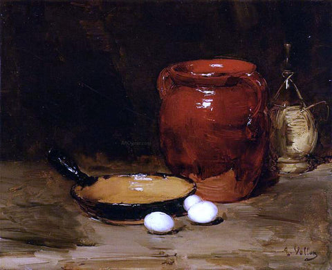 Antoine Vollon Still Life with a Pen, Jug, Bottle and Eggs on a Table - Hand Painted Oil Painting