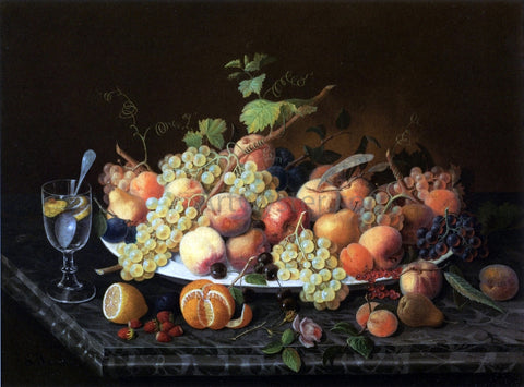 Severin Roesen Still Life with Fruit and Glass of Lemonade - Hand Painted Oil Painting